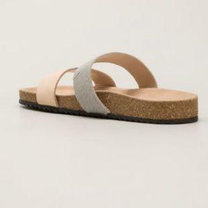 Loeffler Randall Paz Leather Cowhair Slides Size 8